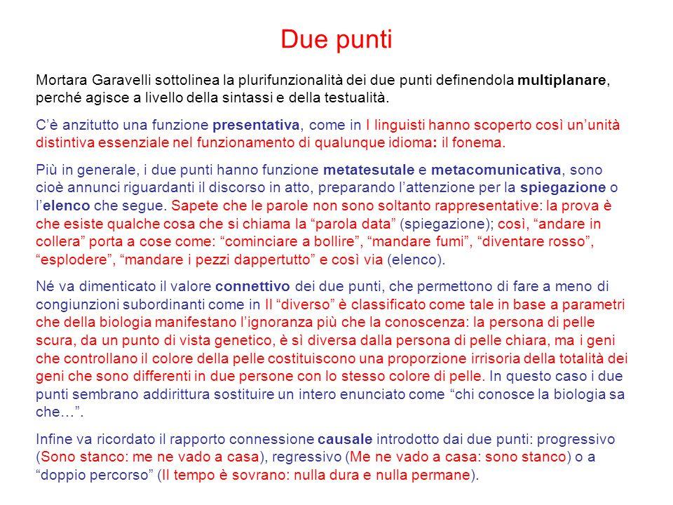 Due punti Mortara Garavelli sottolinea la plurifunzionalità dei due punti definendola multiplanare, perché agisce a livello della sintassi e della tes