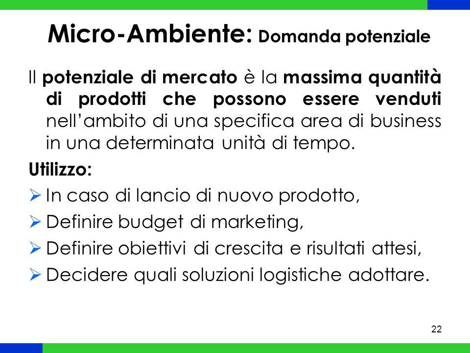 22 Micro-Ambiente: Domanda potenziale Il potenziale di mercato è la massima quantità di prodotti che possono essere venduti nellambito di una specifica area di business in una determinata unità di tempo.