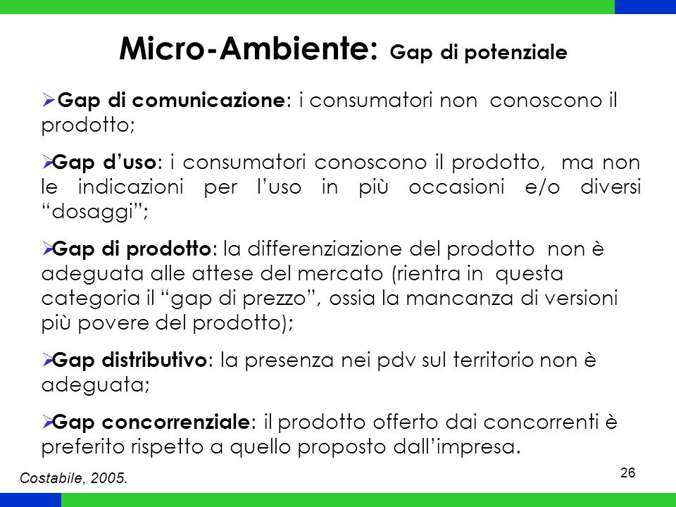 26 Micro-Ambiente: Gap di potenziale Gap di comunicazione : i consumatori non conoscono il prodotto; Gap duso : i consumatori conoscono il prodotto, ma non le indicazioni per luso in più occasioni e/o diversi dosaggi; Gap di prodotto : la differenziazione del prodotto non è adeguata alle attese del mercato (rientra in questa categoria il gap di prezzo, ossia la mancanza di versioni più povere del prodotto); Gap distributivo : la presenza nei pdv sul territorio non è adeguata; Gap concorrenziale : il prodotto offerto dai concorrenti è preferito rispetto a quello proposto dallimpresa.