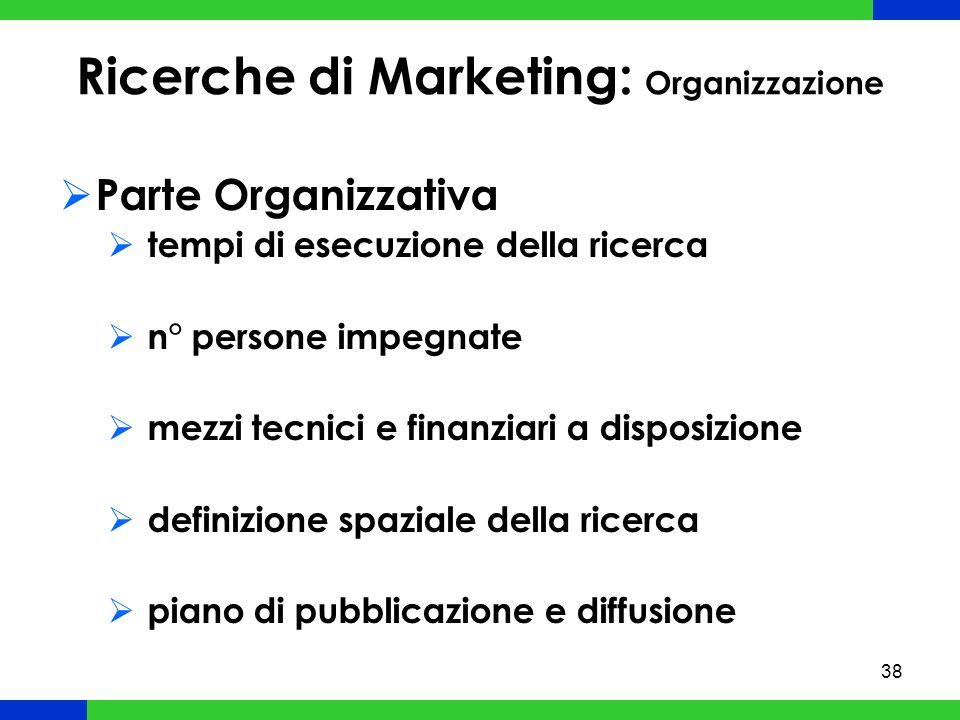38 Ricerche di Marketing: Organizzazione Parte Organizzativa tempi di esecuzione della ricerca n° persone impegnate mezzi tecnici e finanziari a disposizione definizione spaziale della ricerca piano di pubblicazione e diffusione