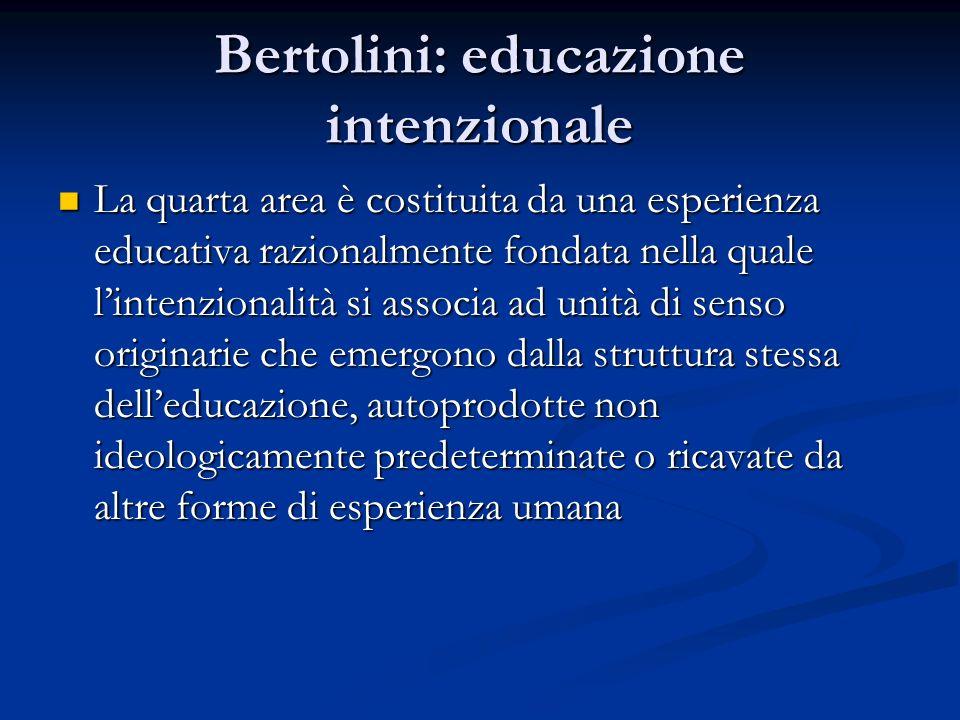 Bertolini: educazione intenzionale La quarta area è costituita da una esperienza educativa razionalmente fondata nella quale lintenzionalità si associ