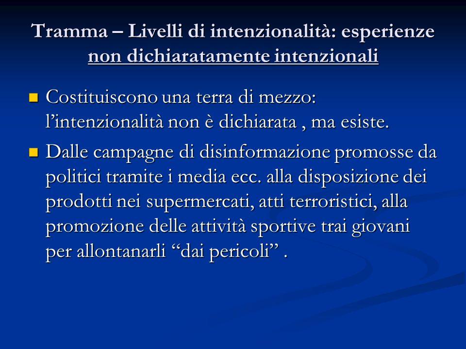 Tramma – Livelli di intenzionalità: esperienze non dichiaratamente intenzionali Costituiscono una terra di mezzo: lintenzionalità non è dichiarata, ma