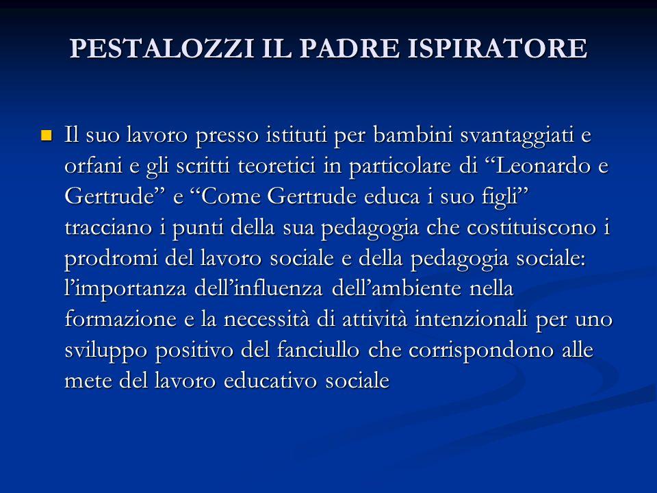 PESTALOZZI IL PADRE ISPIRATORE Il suo lavoro presso istituti per bambini svantaggiati e orfani e gli scritti teoretici in particolare di Leonardo e Ge