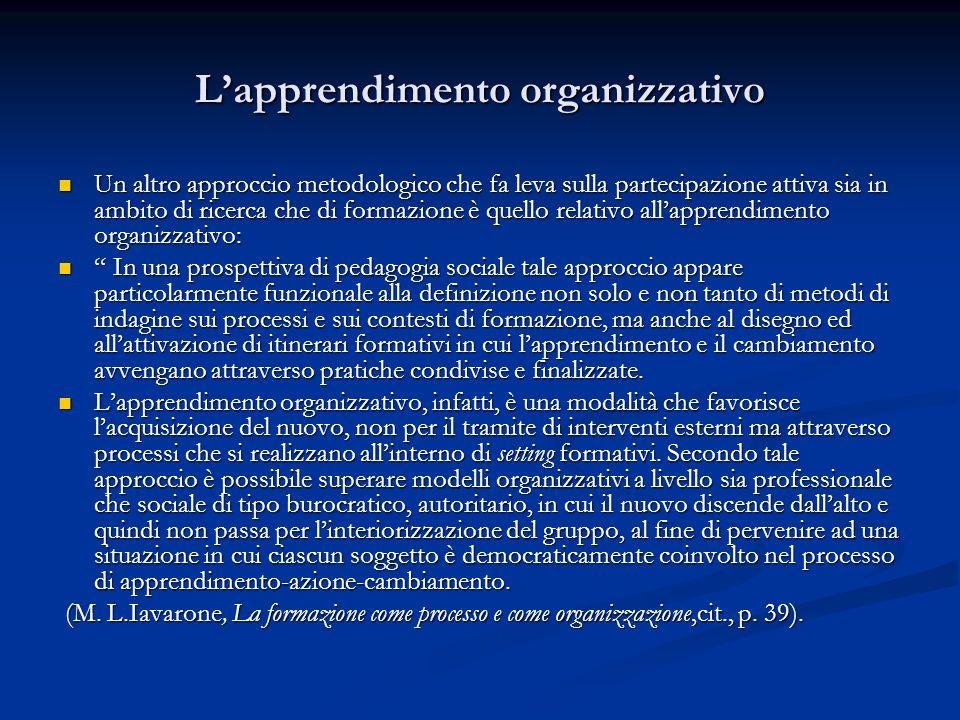 Lapprendimento organizzativo Un altro approccio metodologico che fa leva sulla partecipazione attiva sia in ambito di ricerca che di formazione è quel