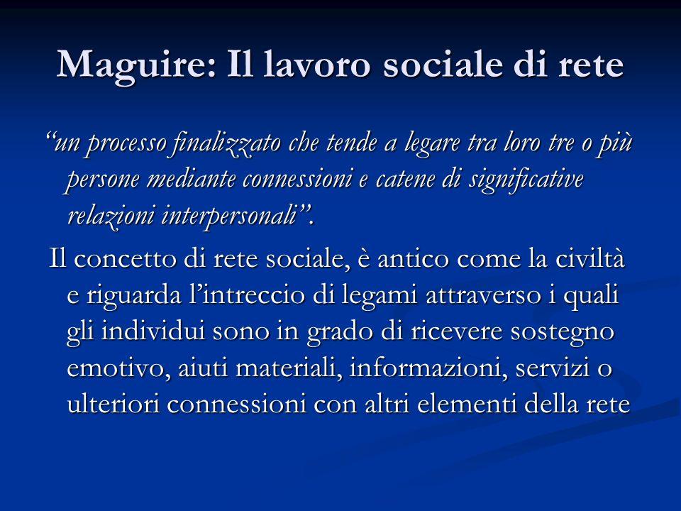 Maguire: Il lavoro sociale di rete un processo finalizzato che tende a legare tra loro tre o più persone mediante connessioni e catene di significativ
