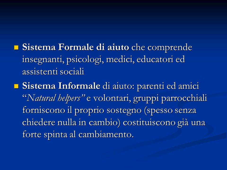 Sistema Formale di aiuto che comprende insegnanti, psicologi, medici, educatori ed assistenti sociali Sistema Formale di aiuto che comprende insegnant
