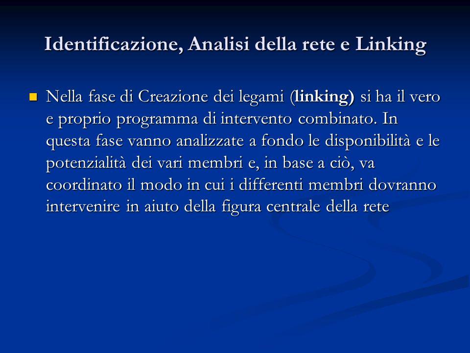 Identificazione, Analisi della rete e Linking Nella fase di Creazione dei legami (linking) si ha il vero e proprio programma di intervento combinato.