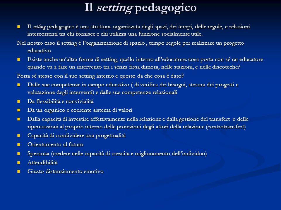 Il setting pedagogico Il setting pedagogico è una struttura organizzata degli spazi, dei tempi, delle regole, e relazioni intercorrenti tra chi fornis