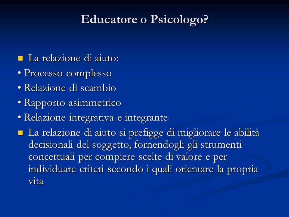 Educatore o Psicologo? La relazione di aiuto: La relazione di aiuto: Processo complesso Processo complesso Relazione di scambio Relazione di scambio R