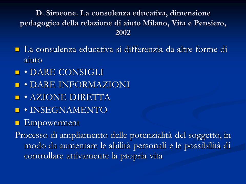 D. Simeone. La consulenza educativa, dimensione pedagogica della relazione di aiuto Milano, Vita e Pensiero, 2002 La consulenza educativa si differenz