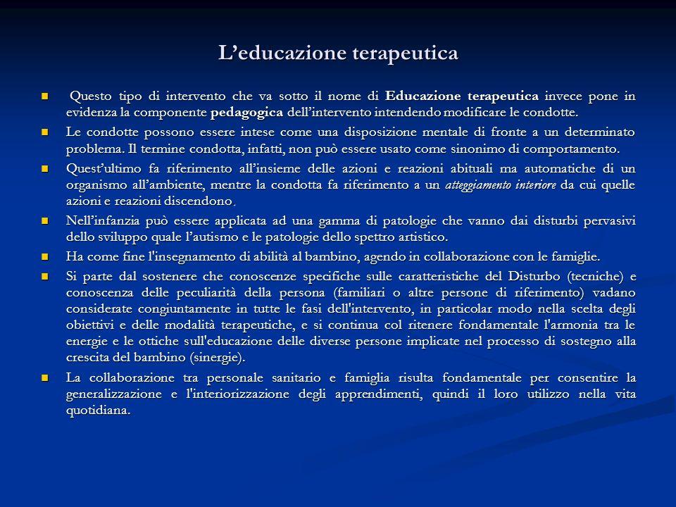 Leducazione terapeutica Questo tipo di intervento che va sotto il nome di Educazione terapeutica invece pone in evidenza la componente pedagogica dell