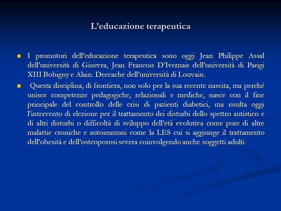 Leducazione terapeutica I promotori delleducazione terapeutica sono oggi Jean Philippe Assal delluniversità di Ginevra, Jean Francois DIvernais dellun
