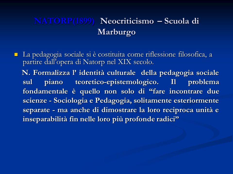 NATORP(1899) Neocriticismo – Scuola di Marburgo La pedagogia sociale si è costituita come riflessione filosofica, a partire dallopera di Natorp nel XI