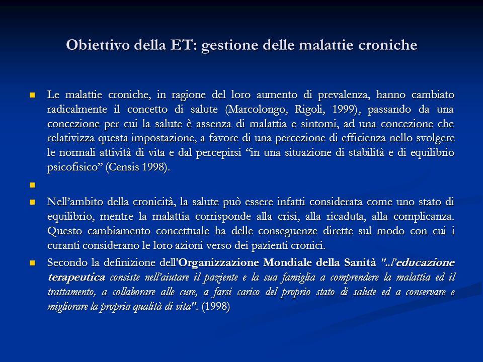 Obiettivo della ET: gestione delle malattie croniche Le malattie croniche, in ragione del loro aumento di prevalenza, hanno cambiato radicalmente il c