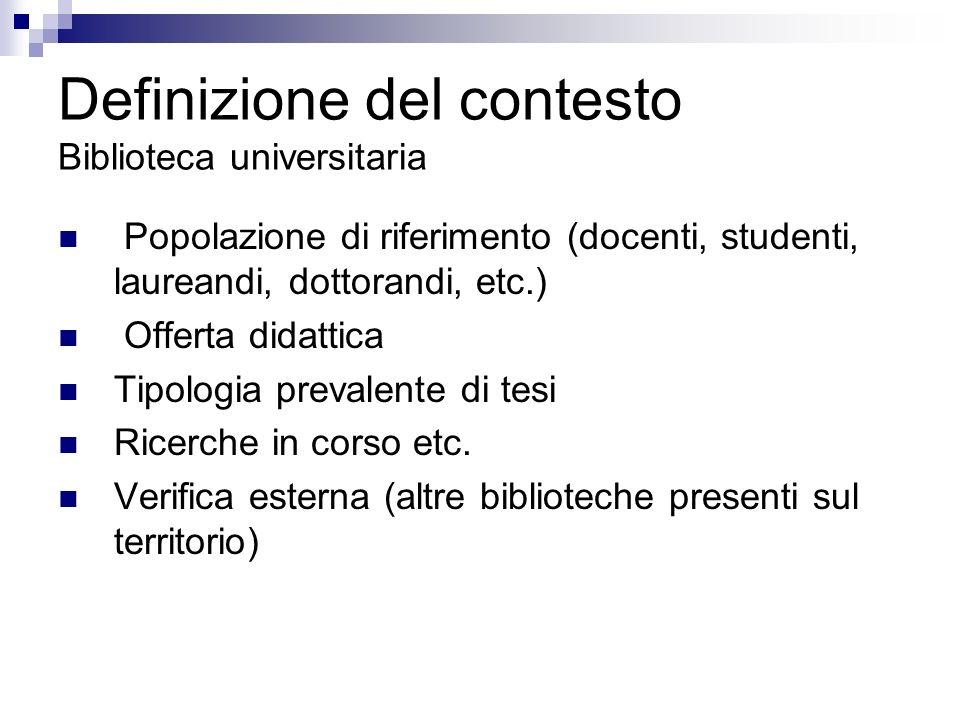 Definizione del contesto Biblioteca universitaria Popolazione di riferimento (docenti, studenti, laureandi, dottorandi, etc.) Offerta didattica Tipolo