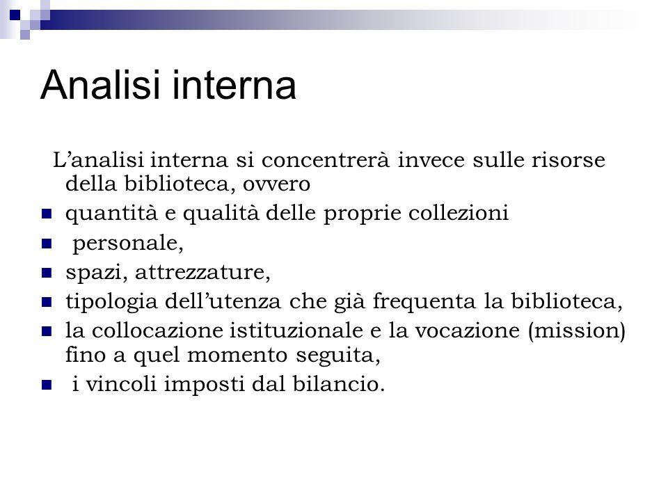 Analisi interna Lanalisi interna si concentrerà invece sulle risorse della biblioteca, ovvero quantità e qualità delle proprie collezioni personale, s