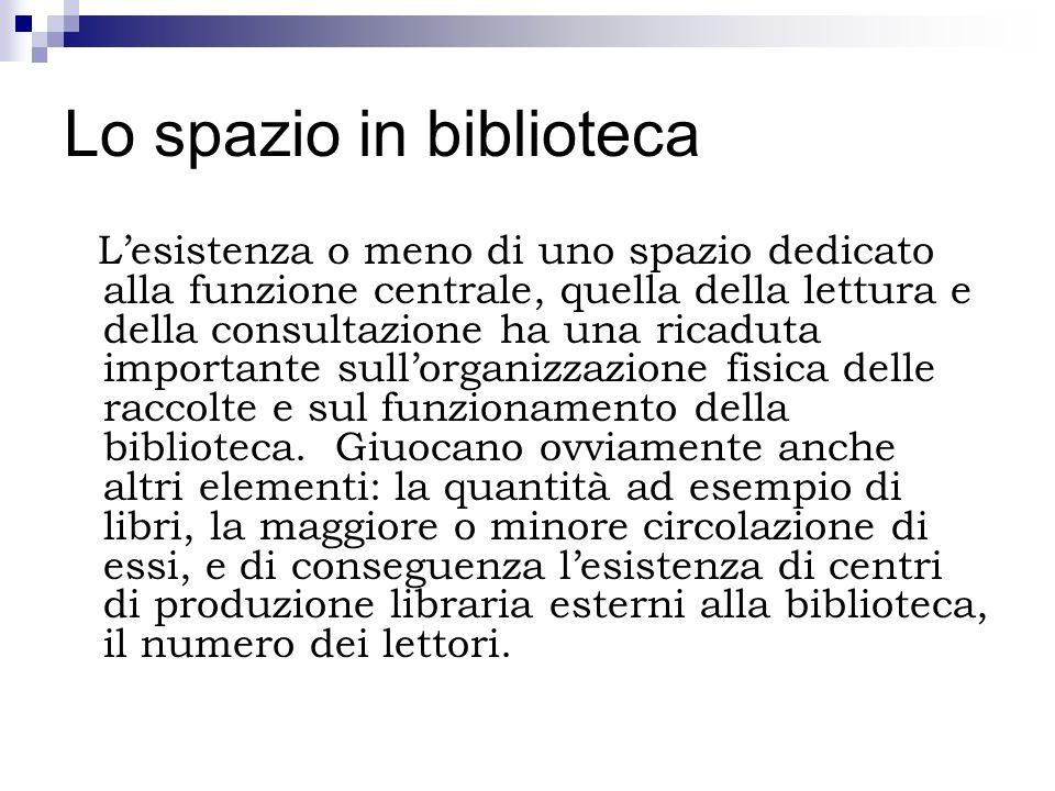 Lo spazio in biblioteca Lesistenza o meno di uno spazio dedicato alla funzione centrale, quella della lettura e della consultazione ha una ricaduta im