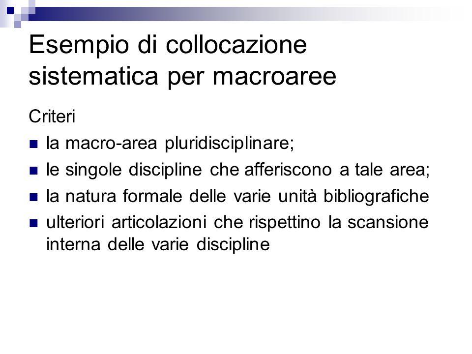 Esempio di collocazione sistematica per macroaree Criteri la macro-area pluridisciplinare; le singole discipline che afferiscono a tale area; la natur