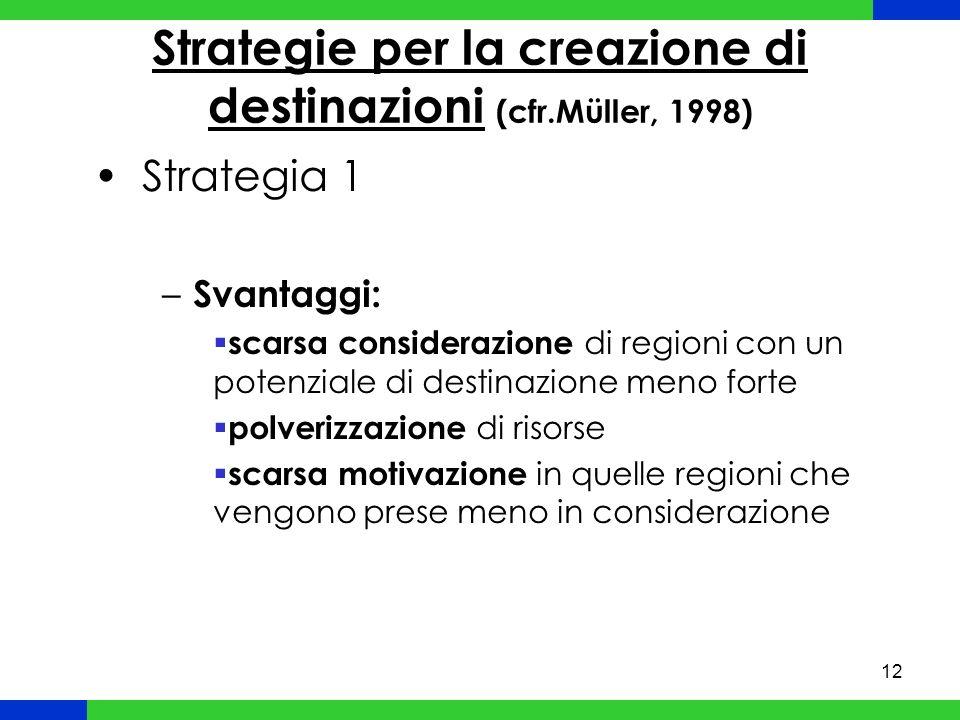 12 Strategie per la creazione di destinazioni (cfr.Müller, 1998) Strategia 1 – Svantaggi: scarsa considerazione di regioni con un potenziale di destinazione meno forte polverizzazione di risorse scarsa motivazione in quelle regioni che vengono prese meno in considerazione