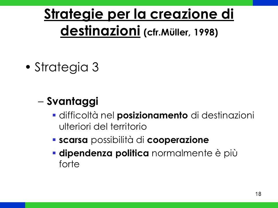 18 Strategie per la creazione di destinazioni (cfr.Müller, 1998) Strategia 3 – Svantaggi difficoltà nel posizionamento di destinazioni ulteriori del territorio scarsa possibilità di cooperazione dipendenza politica normalmente è più forte