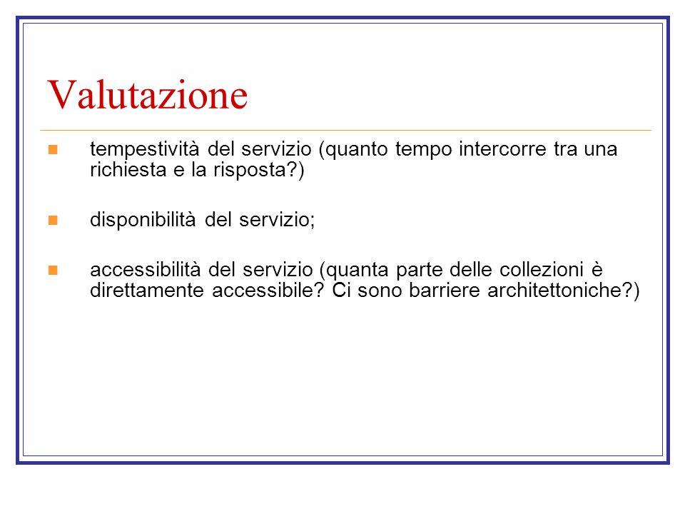 Valutazione tempestività del servizio (quanto tempo intercorre tra una richiesta e la risposta ) disponibilità del servizio; accessibilità del servizio (quanta parte delle collezioni è direttamente accessibile.