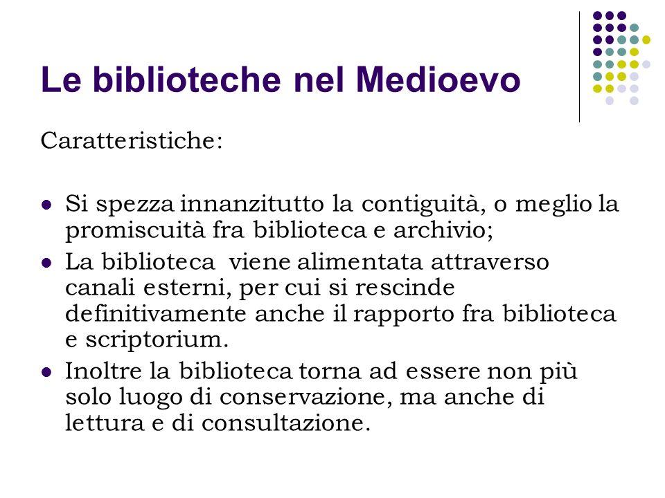Le biblioteche nel Medioevo Caratteristiche: Si spezza innanzitutto la contiguità, o meglio la promiscuità fra biblioteca e archivio; La biblioteca vi