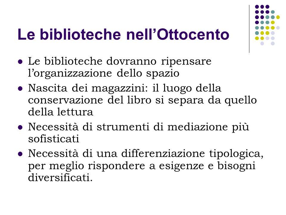 Le biblioteche nellOttocento Le biblioteche dovranno ripensare lorganizzazione dello spazio Nascita dei magazzini: il luogo della conservazione del li