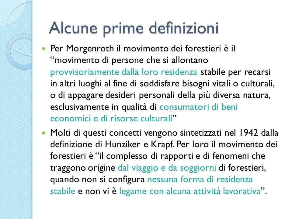 Alcune prime definizioni Per Morgenroth il movimento dei forestieri è il movimento di persone che si allontano provvisoriamente dalla loro residenza s