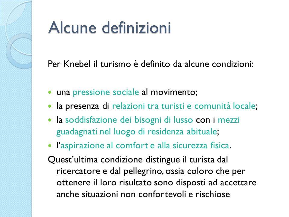 Alcune definizioni Per Knebel il turismo è definito da alcune condizioni: una pressione sociale al movimento; la presenza di relazioni tra turisti e c
