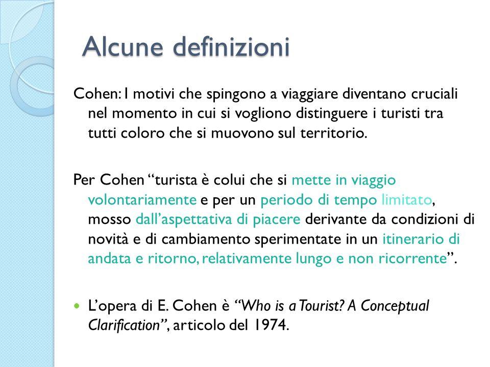 Alcune definizioni Cohen: I motivi che spingono a viaggiare diventano cruciali nel momento in cui si vogliono distinguere i turisti tra tutti coloro c