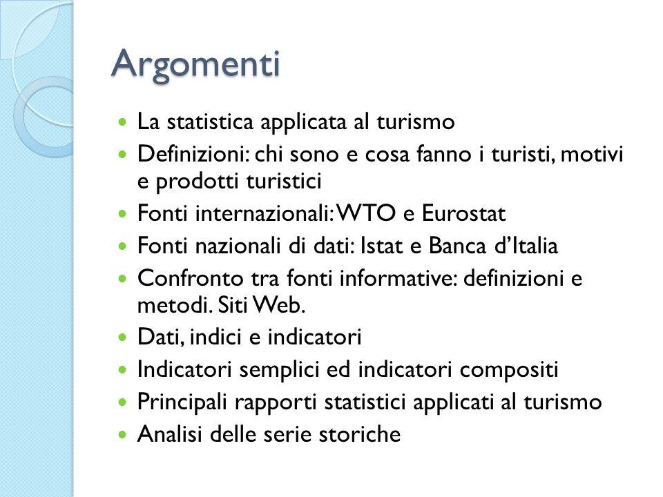 Argomenti La statistica applicata al turismo Definizioni: chi sono e cosa fanno i turisti, motivi e prodotti turistici Fonti internazionali: WTO e Eur