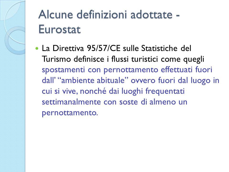 Alcune definizioni adottate - Eurostat La Direttiva 95/57/CE sulle Statistiche del Turismo definisce i flussi turistici come quegli spostamenti con pe