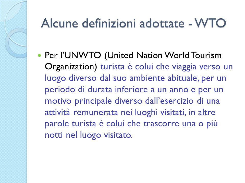 Alcune definizioni adottate - WTO Per lUNWTO (United Nation World Tourism Organization) turista è colui che viaggia verso un luogo diverso dal suo amb