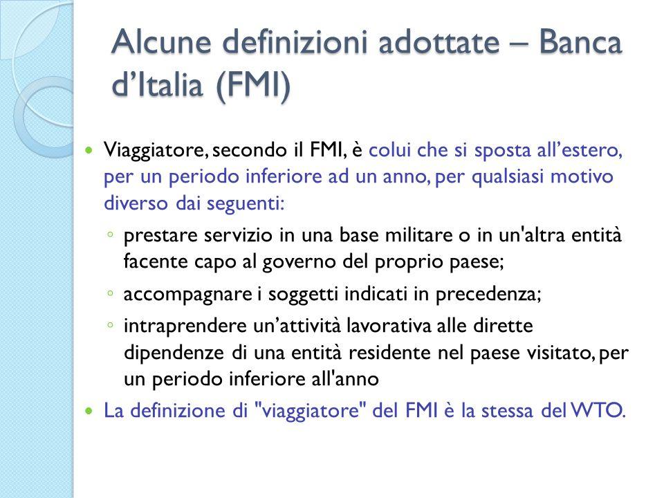 Alcune definizioni adottate – Banca dItalia (FMI) Viaggiatore, secondo il FMI, è colui che si sposta allestero, per un periodo inferiore ad un anno, p