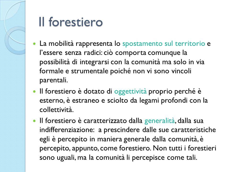 Il forestiero La mobilità rappresenta lo spostamento sul territorio e lessere senza radici: ciò comporta comunque la possibilità di integrarsi con la