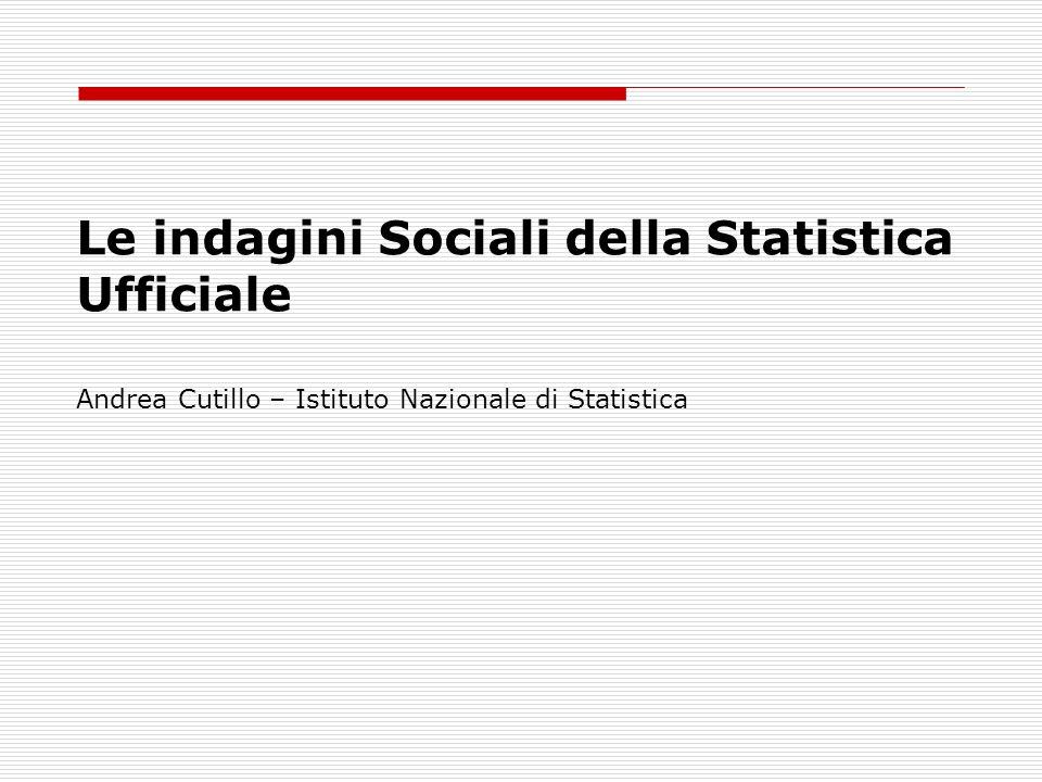 Le indagini Sociali della Statistica Ufficiale Andrea Cutillo – Istituto Nazionale di Statistica