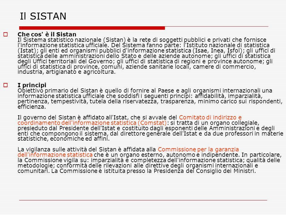 Il SISTAN Che cos' è il Sistan Il Sistema statistico nazionale (Sistan) è la rete di soggetti pubblici e privati che fornisce l'informazione statistic