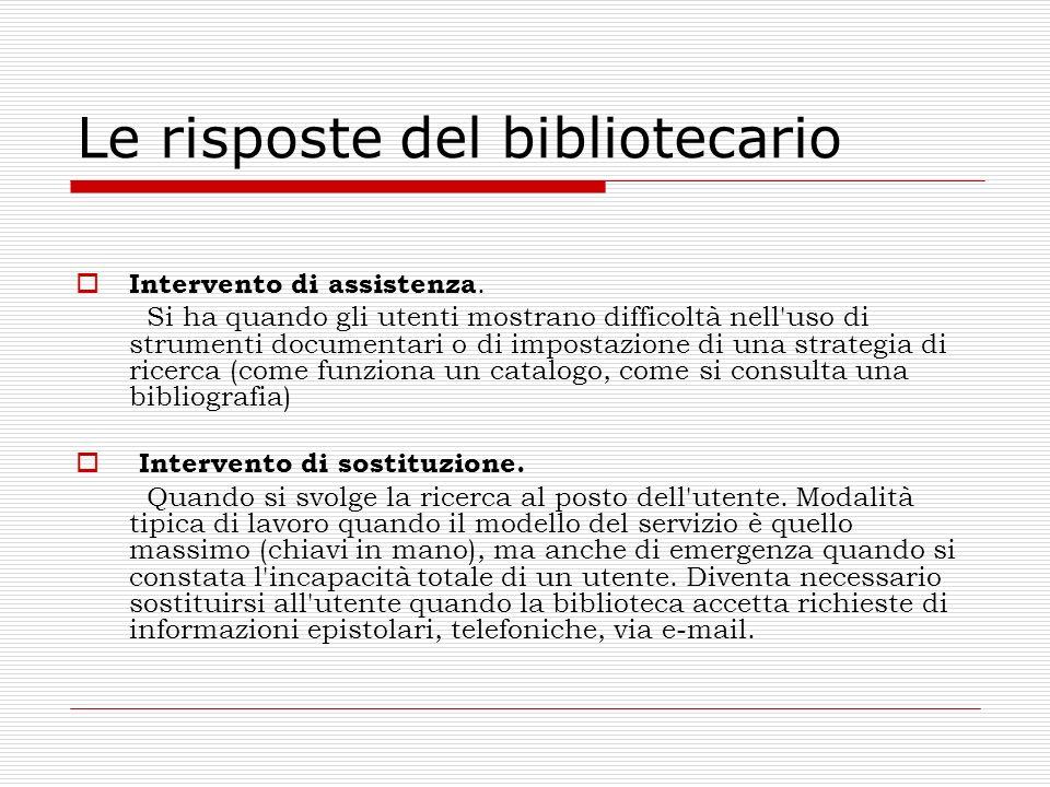 Le risposte del bibliotecario Intervento di assistenza. Si ha quando gli utenti mostrano difficoltà nell'uso di strumenti documentari o di impostazion