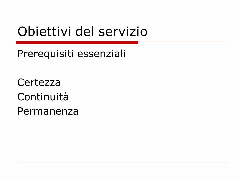 Obiettivi del servizio Prerequisiti essenziali Certezza Continuità Permanenza