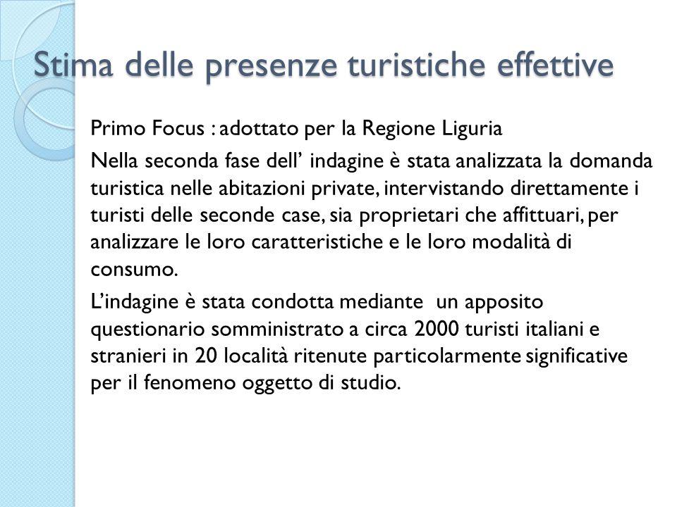 Stima delle presenze turistiche effettive Primo Focus : adottato per la Regione Liguria Nella seconda fase dell indagine è stata analizzata la domanda turistica nelle abitazioni private, intervistando direttamente i turisti delle seconde case, sia proprietari che affittuari, per analizzare le loro caratteristiche e le loro modalità di consumo.