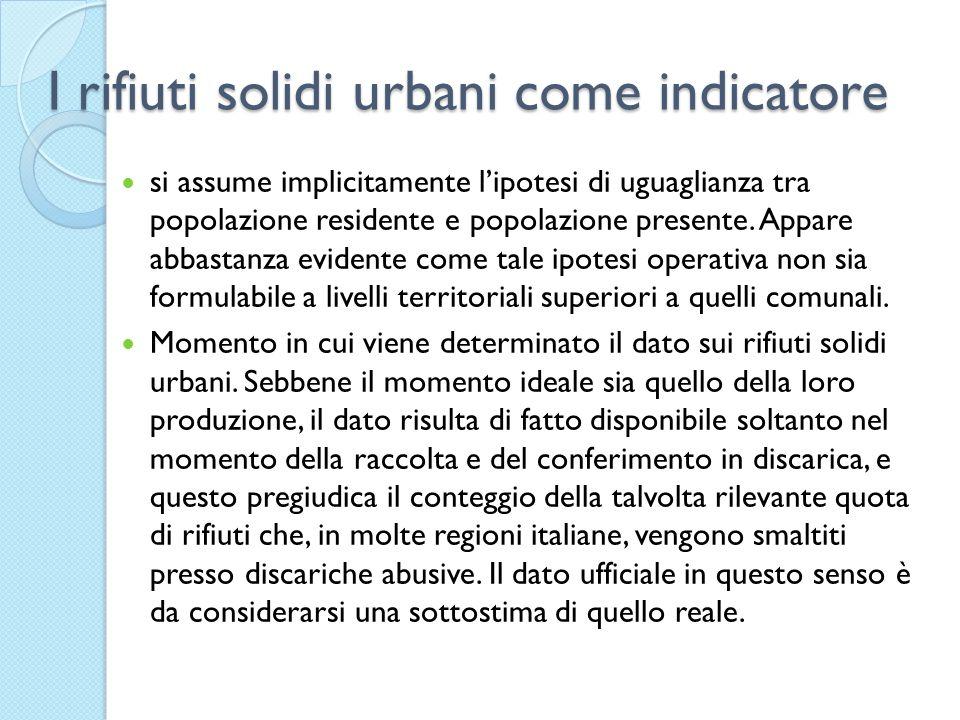 I rifiuti solidi urbani come indicatore si assume implicitamente lipotesi di uguaglianza tra popolazione residente e popolazione presente.