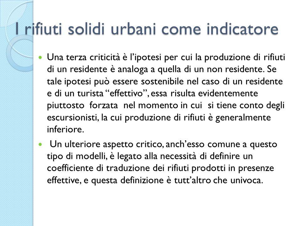 I rifiuti solidi urbani come indicatore Una terza criticità è lipotesi per cui la produzione di rifiuti di un residente è analoga a quella di un non residente.