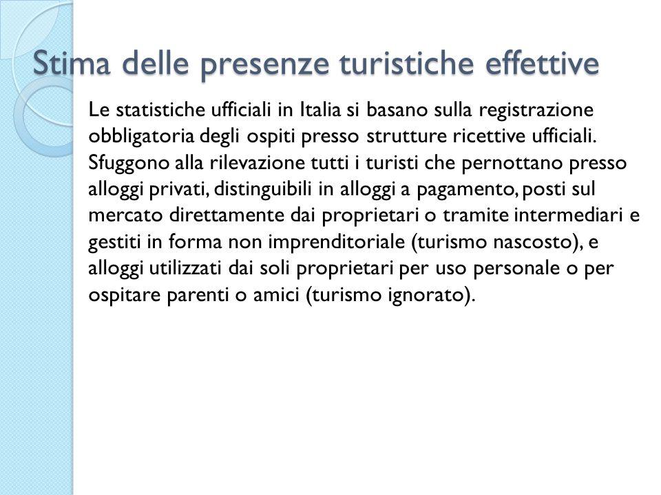 Stima delle presenze turistiche effettive Le statistiche ufficiali in Italia si basano sulla registrazione obbligatoria degli ospiti presso strutture ricettive ufficiali.