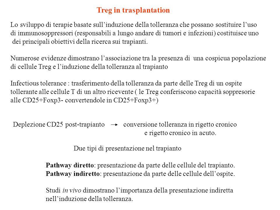 Lo sviluppo di terapie basate sullinduzione della tolleranza che possano sostituire luso di immunosoppressori (responsabili a lungo andare di tumori e