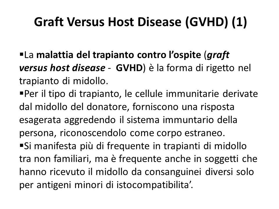 Graft Versus Host Disease (GVHD) (1) La malattia del trapianto contro lospite (graft versus host disease - GVHD) è la forma di rigetto nel trapianto d