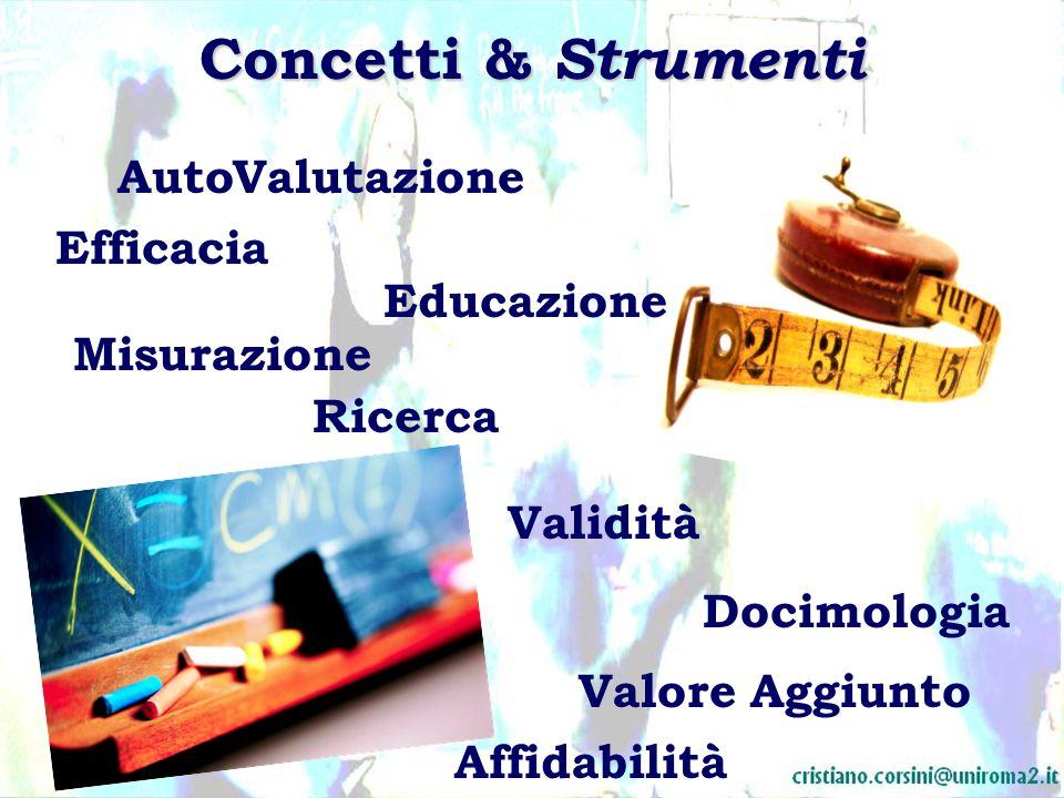 Concetti & Strumenti Ricerca Misurazione Valore Aggiunto Efficacia Educazione ValutazioneAuto Docimologia Validità Affidabilità