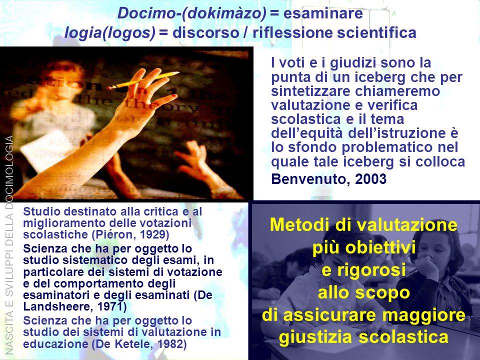 Docimo-(dokimàzo) = esaminare logia(logos) = discorso / riflessione scientifica Studio destinato alla critica e al miglioramento delle votazioni scola