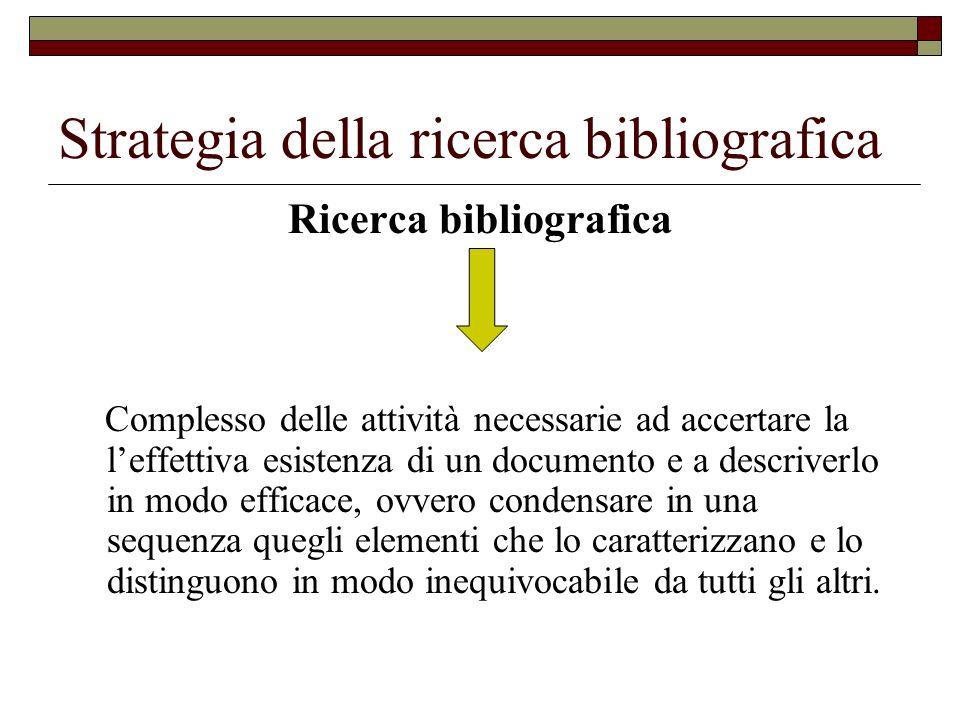 Strategia della ricerca bibliografica Una ricerca bibliografica, dell uno e dell altro tipo non si improvvisa, ma deve essere attentamente pianificata.