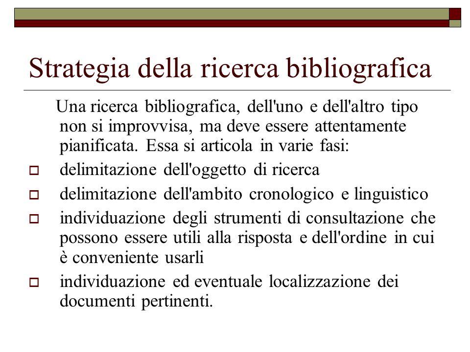 Strategia della ricerca bibliografica Una ricerca bibliografica, dell'uno e dell'altro tipo non si improvvisa, ma deve essere attentamente pianificata