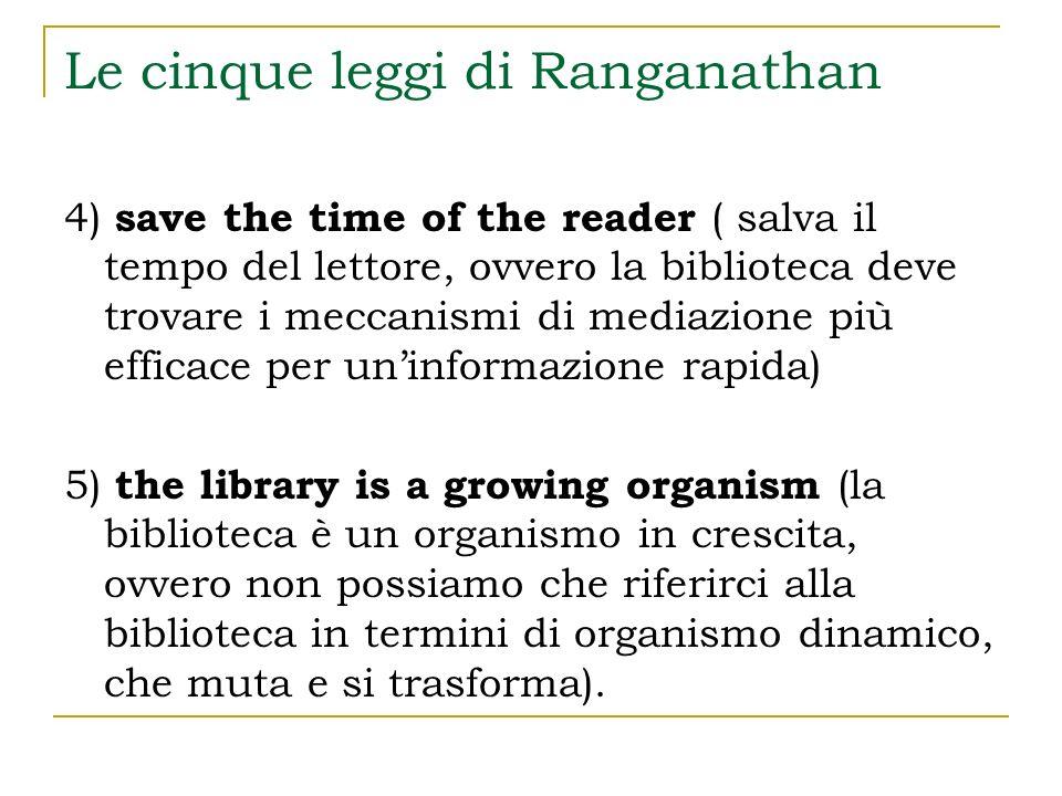 Le cinque leggi di Ranganathan 4) save the time of the reader ( salva il tempo del lettore, ovvero la biblioteca deve trovare i meccanismi di mediazio